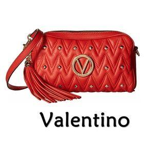 Valentino Red Leather RockStud Crossbody Bag NEW